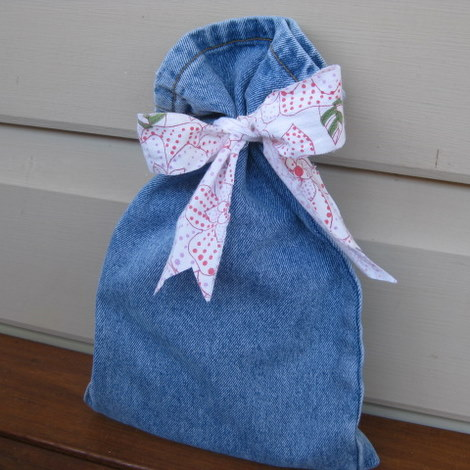 Gift bag made from recycled jeans leg