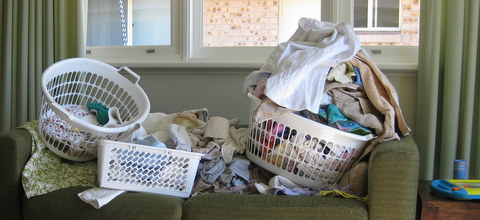 Bottomless pile of washing copyright Little Eco Footprints 2009