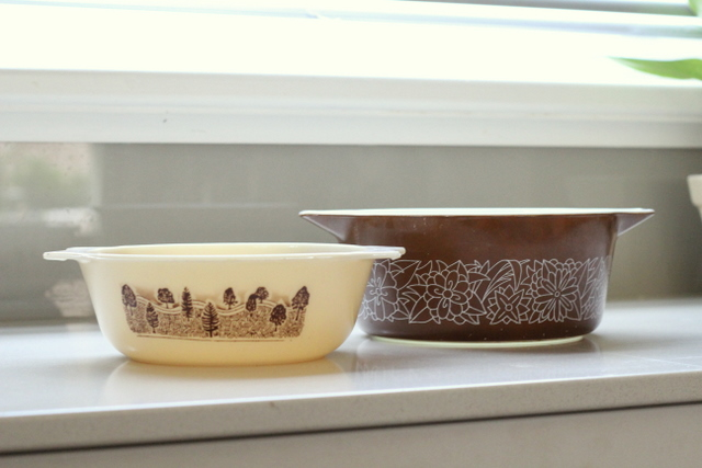 Thrift shop find 3 brown pyrex