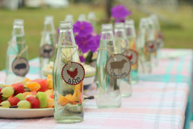 Birthday party drink bottle name tags