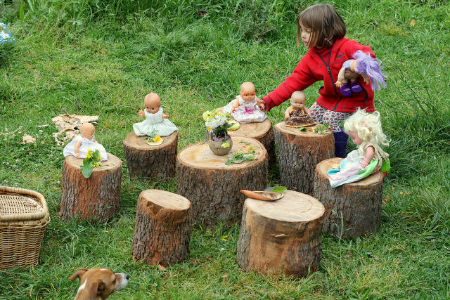 Salvaged stump childrens picnic table