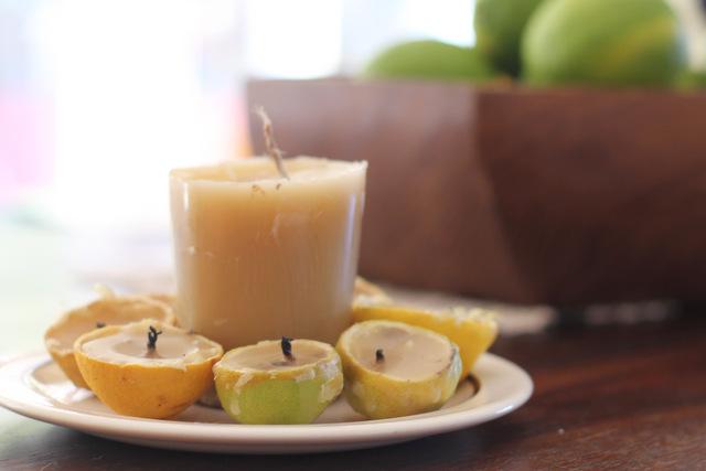 Handmade lime beeswax candles