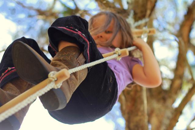 Natural playground rope swing