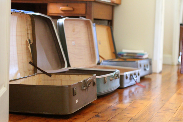 Vintage suitcases waiting for some editing