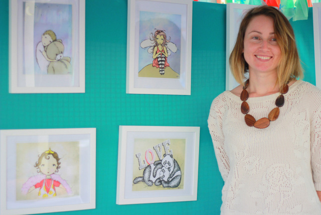 Danielle Higgins and her Grubby Princess artwork - Fig Tree Markets - Tricia Hogbin