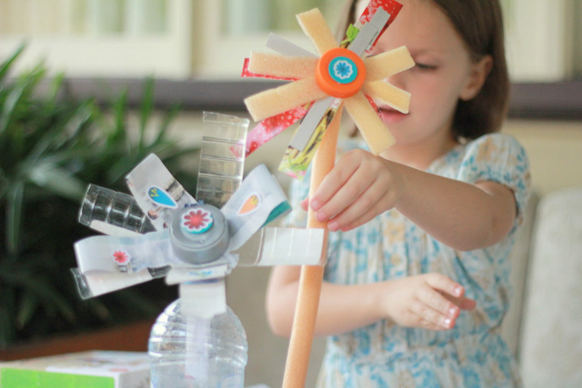 Recycling trash to make flowers using makedo flower making kit 2 by little eco footprints