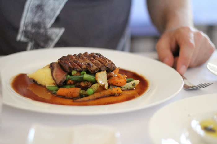A meal fit for a challenge - a 100 metre meal at Margan Resturant in the Hunter Valley. All ingredients were sourced from within 100 metres of our table. Tricia Hogbin-001