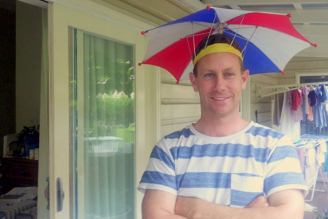 Daddy Eco and his umbrella hat. Little Eco Footprints