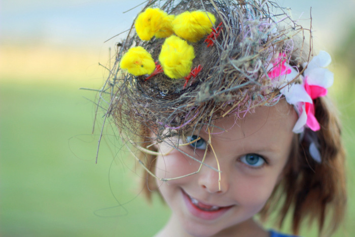 Recent no spend easter hat made from a fallen nest and chickens from a past easter