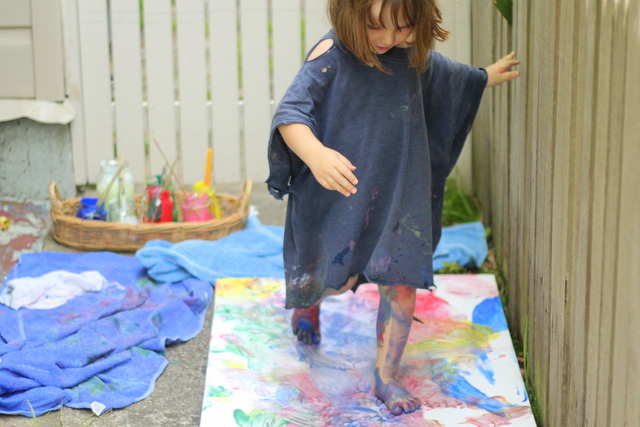 Full body kids painting on canvas