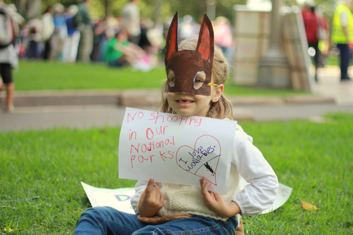 Six year old Hunter valley resident at Sydney No Hunting in National Parks Rally 18th April 2013