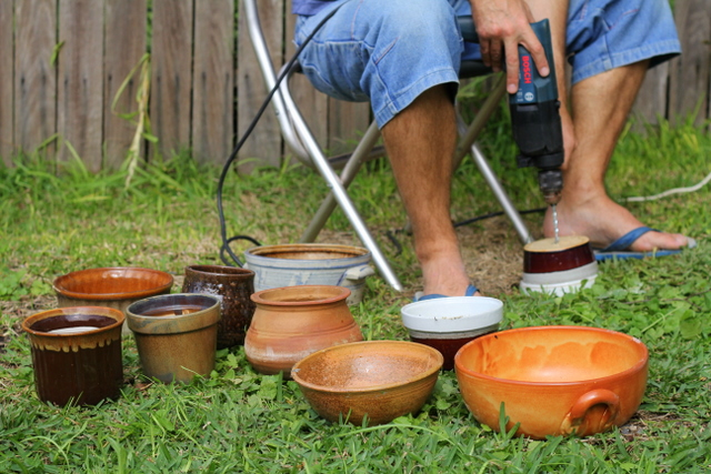 Casserole dishes and ceramic containers can be turned inot house plant pots by drilling a hole in the bottom. Little eco footprints.