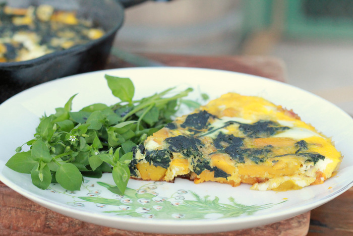 A Winter foraging feast. Stinging Nettle frittata with a side of Chickweed. Little eco footprints.