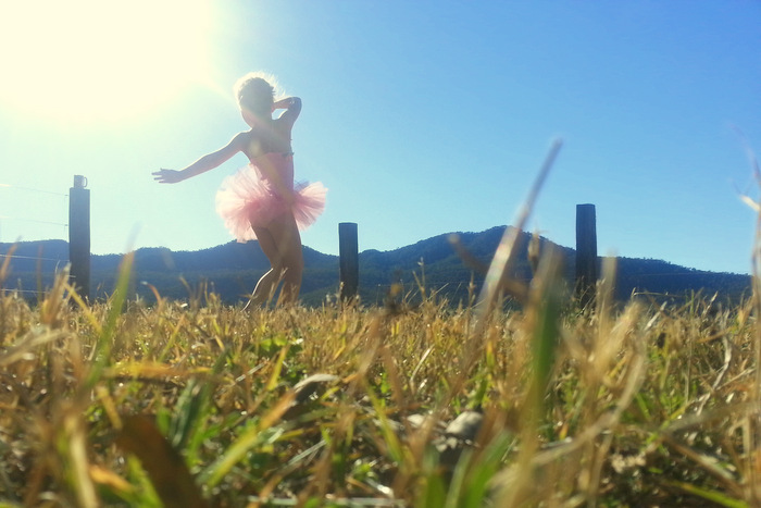 Little eco thinks the 'good life' is dancing through a paddock in a pink tutu. Little eco footprints