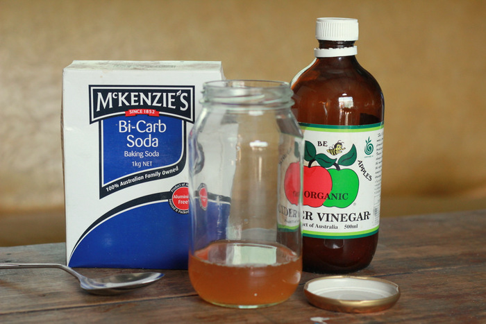 The tools for going no poo - bicarb soda and apple cider vinegar. Little eco footprints