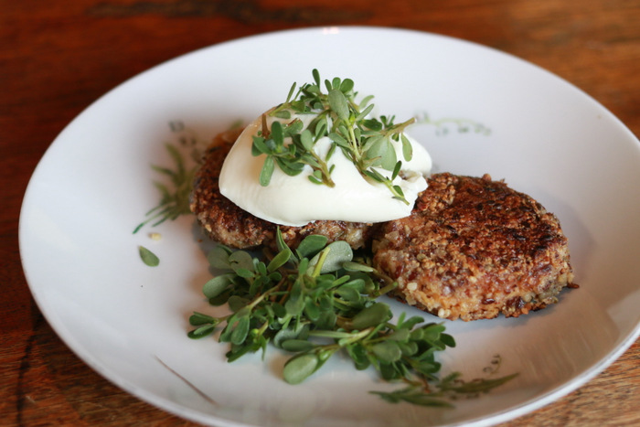 Veggie burgers with a side of purslane. Little eco footprints