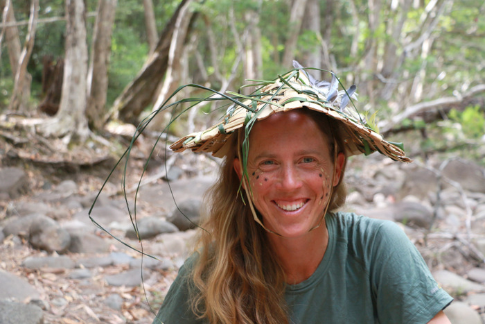 Woven natural hat. Nikki from Bushcraft Australia. Hunter Valley Australia. Little eco footprints.