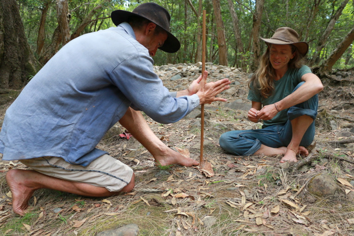 Wildcraft Australia bush survival courses Hunter Valley Australia. Hand drill fire starting. Little eco footprints.