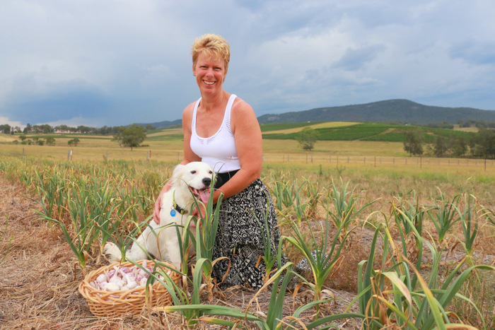 Elizabeth Durbin among her Pokolbin Purple garlic. Hunter Valley. Australian Garlic. Little Eco Footprints