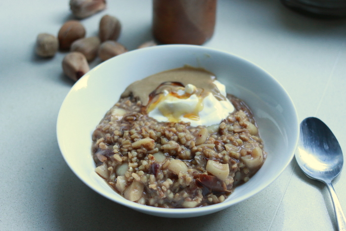 Buckwheat and oat groat porridge with bunya nuts. little eco footprints