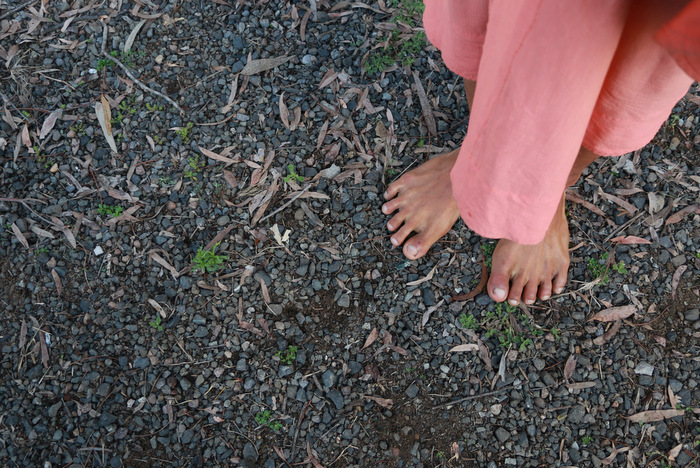 Barefoot buddhist monk. Little eco footprints