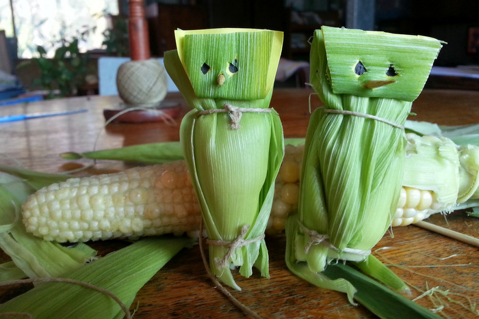 Creative countdown to christmas. corn husk owls. little eco footprints