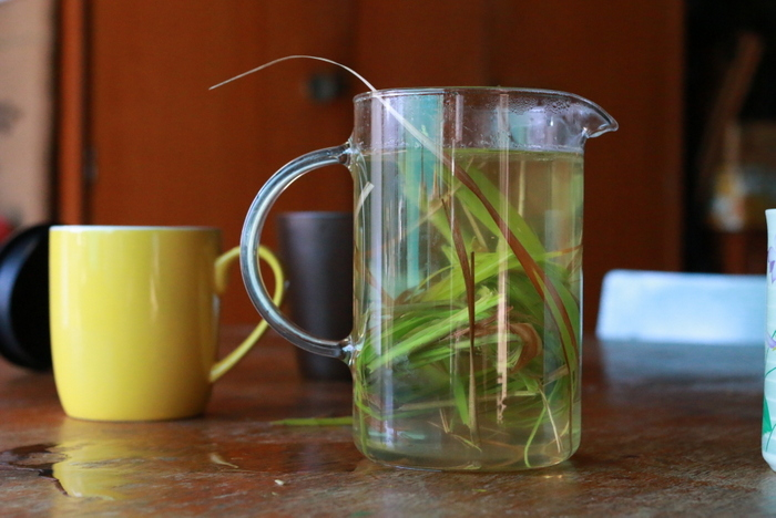 A pot of homegrown lemongrass tea. Little eco footprints