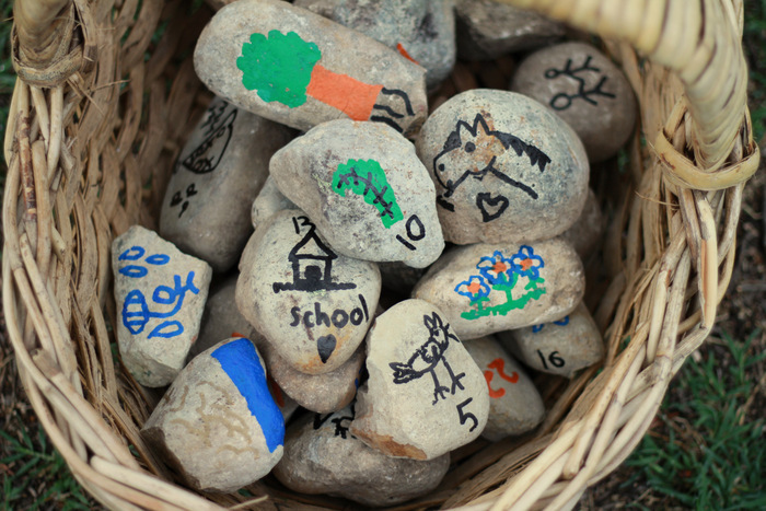 Counting down the days to Christmas using our home made advent calendar made from rocks 2. Little eco footprints