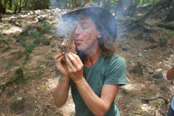 Wildcraft Australia. Nikki lighting a fire without matches. Little eco footprints.