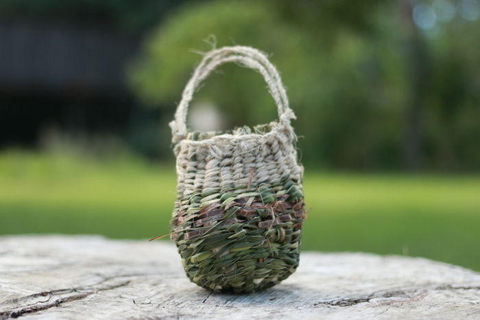 Happiness is learning how to weave a traditional basket. Little eco footprints.