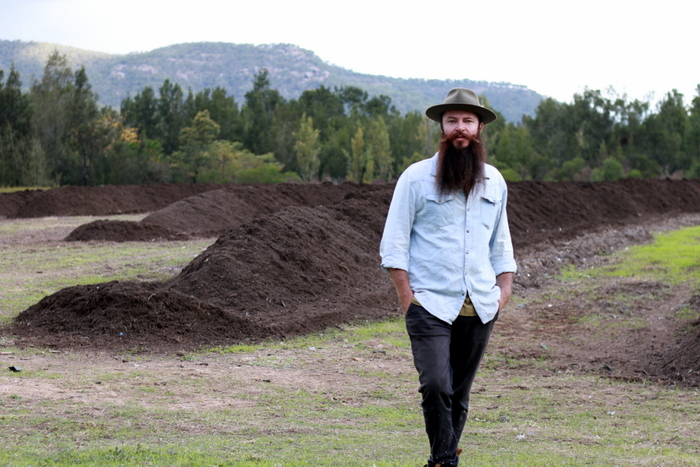 Peter Windrim and a few of Krinklewood Biodynamic Vinyards many compost piles. Little eco footprints