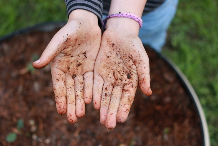 Scentists have discovered that playing in the dirt makes us feel good - thanks to a seratonin boosting bacteria called Mycobacterium vaccae. Little eco footprints
