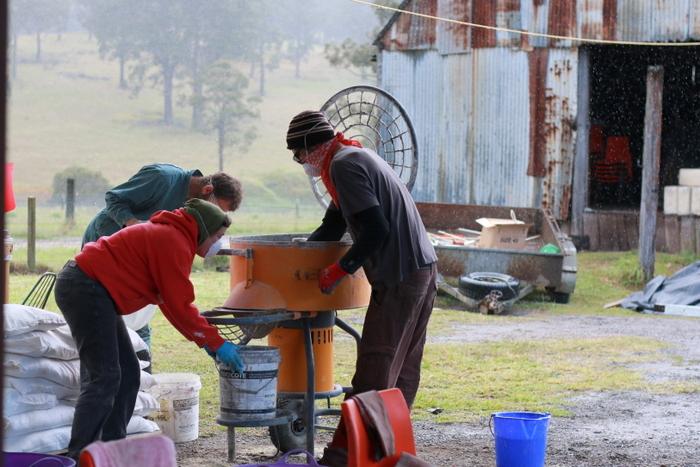 Mixing the ingredients for hemp masonry Australian Hemp Masonry Company workshop. Little eco footprints