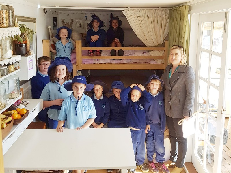 Small school visits tiny home 1